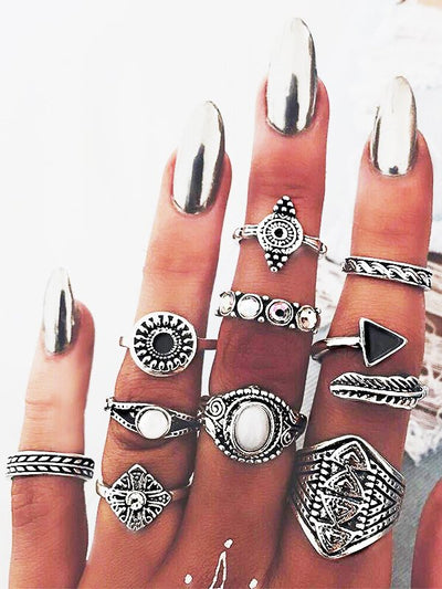 Set of 10 vintage bohemian rings