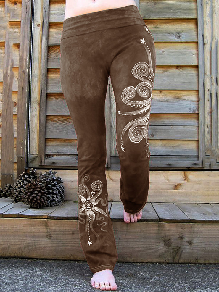 Octopus Printed Vintage Plus Size Pants