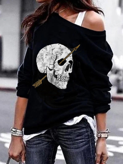 Long Sleeve Skull Cotton-Blend Shirts & Tops