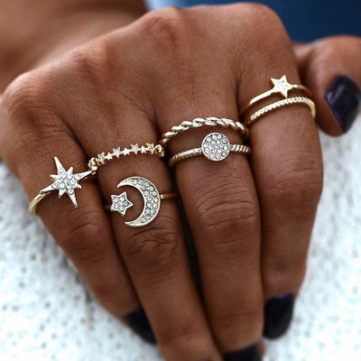 Fashion metal Joker star six - piece combination ring