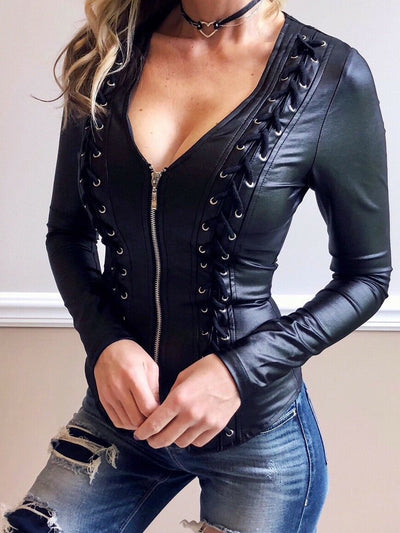 Long Sleeve Faux Leather Outerwear