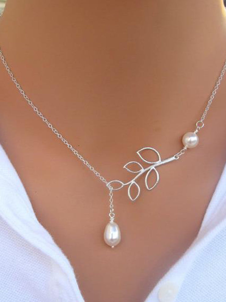 New Chic Fashion Vintage Leaf Pearl Necklaces
