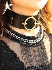 Gothic sexy round double leather collar