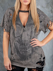 Cotton-Blend V Neck Printed Casual Shirts & Tops