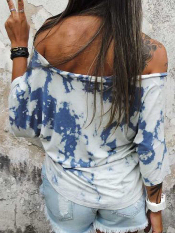 Casual Printed Off Shoulder Cotton-Blend Tops