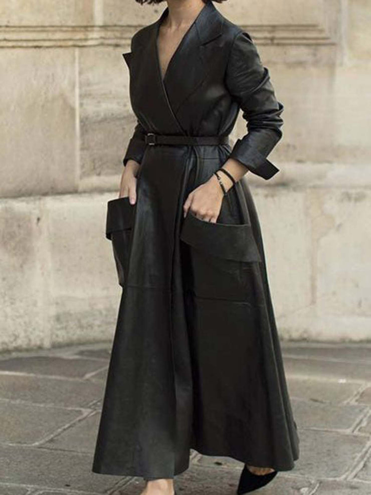Long Sleeve Plain Pockets Faux Leather Outerwear