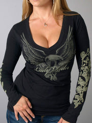 Black Sexy U-Neck Shirts & Tops