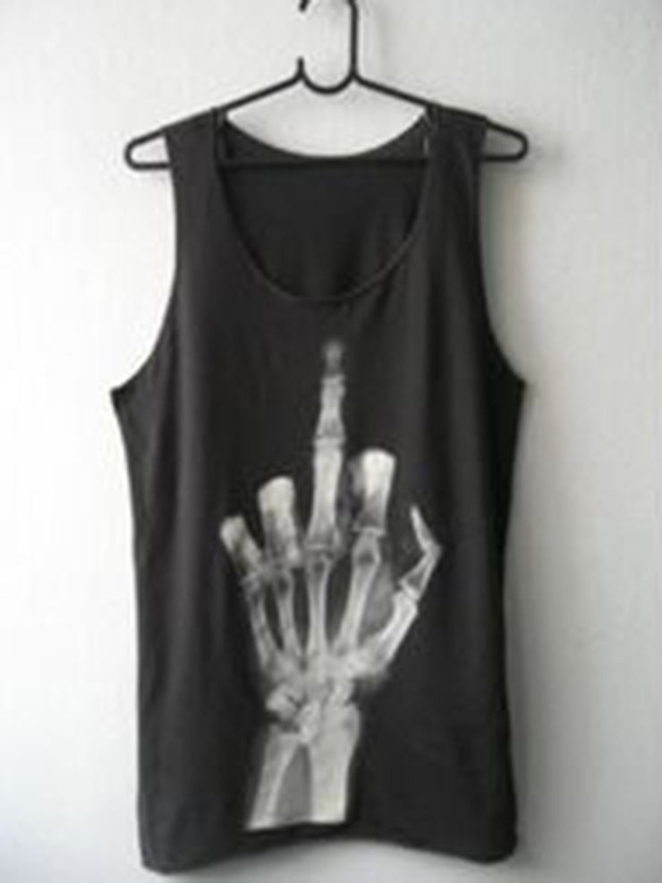 Skull Black Cotton-Blend Crew Neck Sleeveless Shirts & Tops