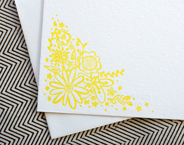 Letterpress Yellow Floral Doodle Note Card