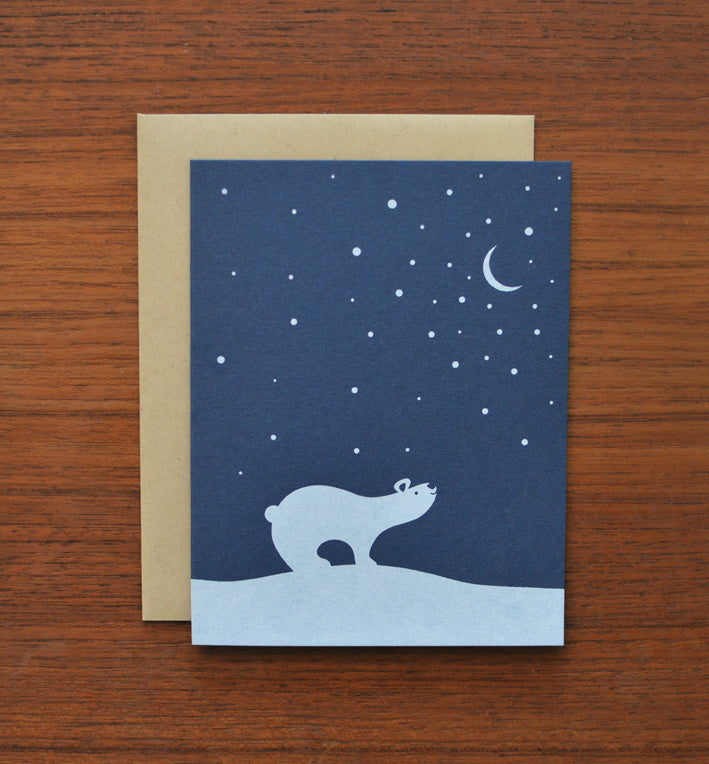greeting card subscription box stationery screen printed polar bear