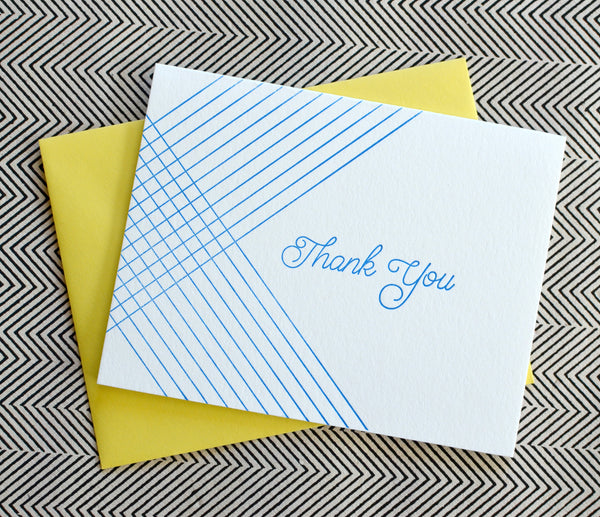 Letterpress Bright Blue Striped Thank You
