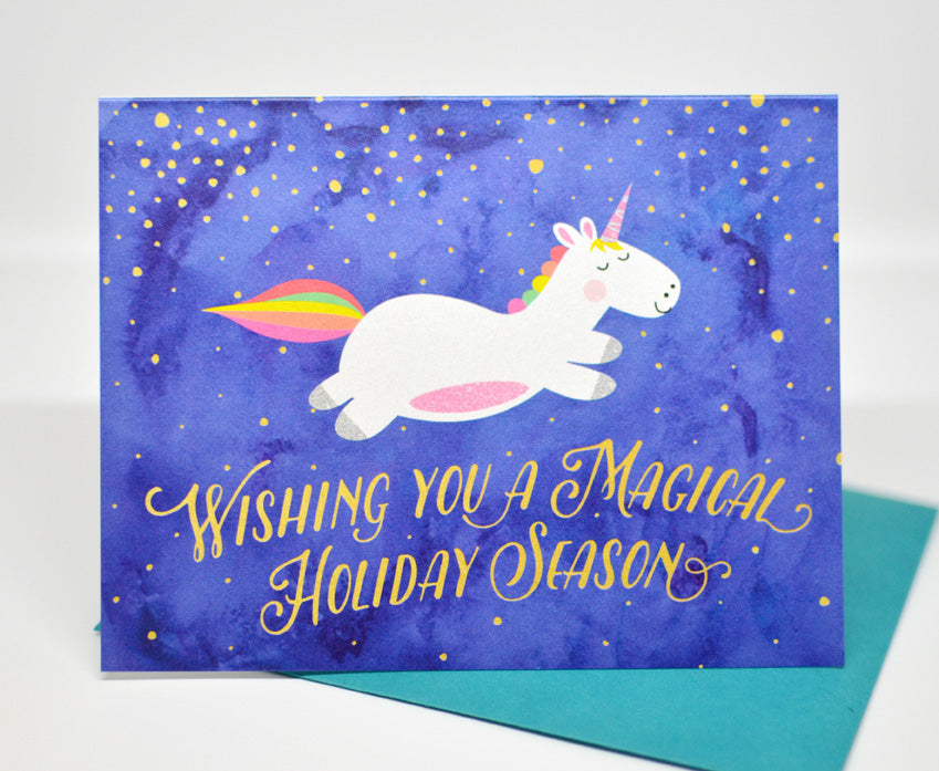 unicorn holiday greeting card