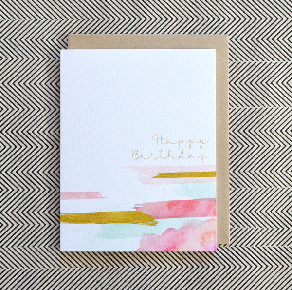 Painted Shimmer Gold Watercolor Strokes Birthday Card