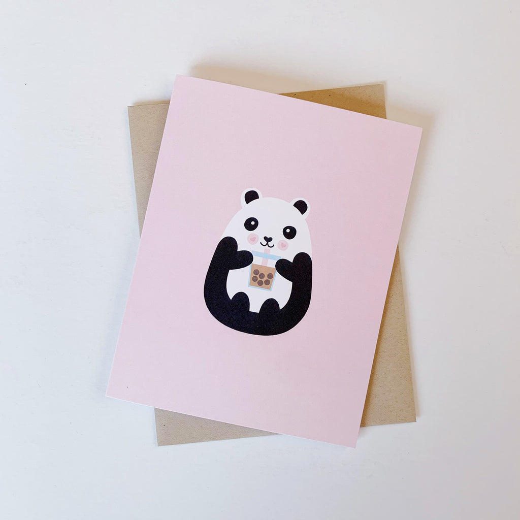 milk tea boba panda pearl tea greeting card pink