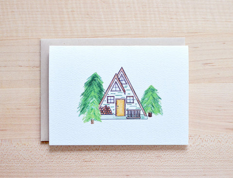 A Frame Cabin in the Woods Card