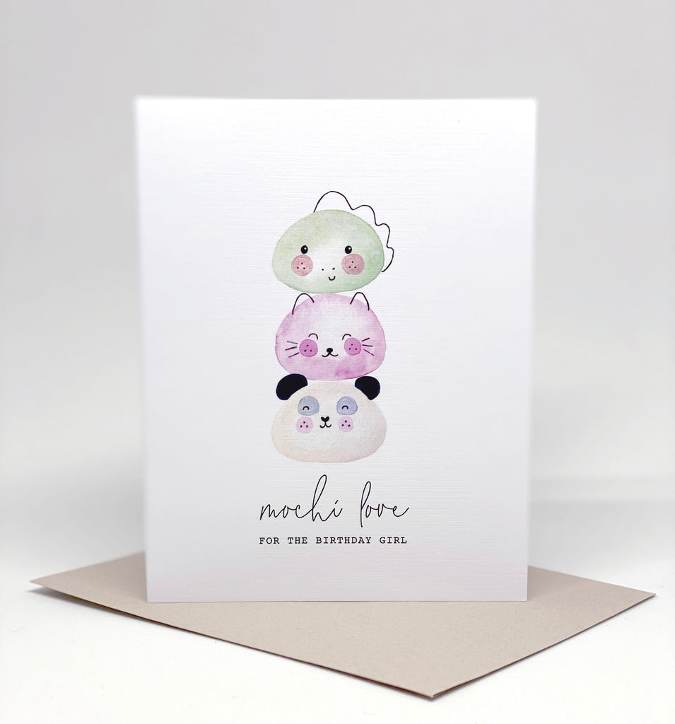 cute kawaii mochi birthday girl card panda kitty dinosaur