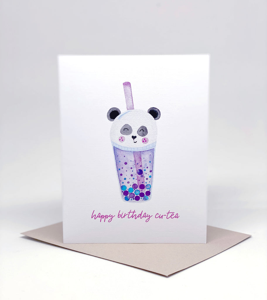 milk tea boba panda pearl tea greeting card purple kawaii