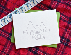 Airstream & Christmas Tree Letterpress Card