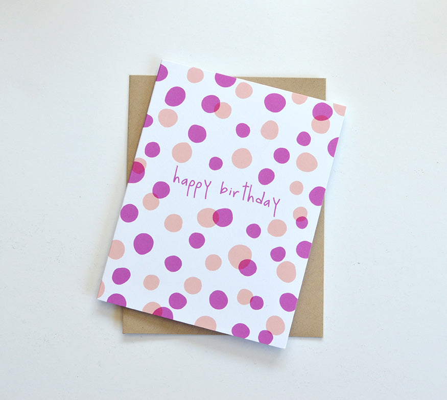 colored dots happy birthday whimsical card
