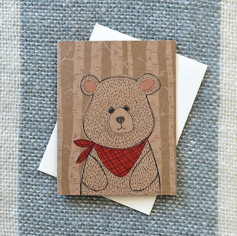 Bandana Bear on Kraft Card