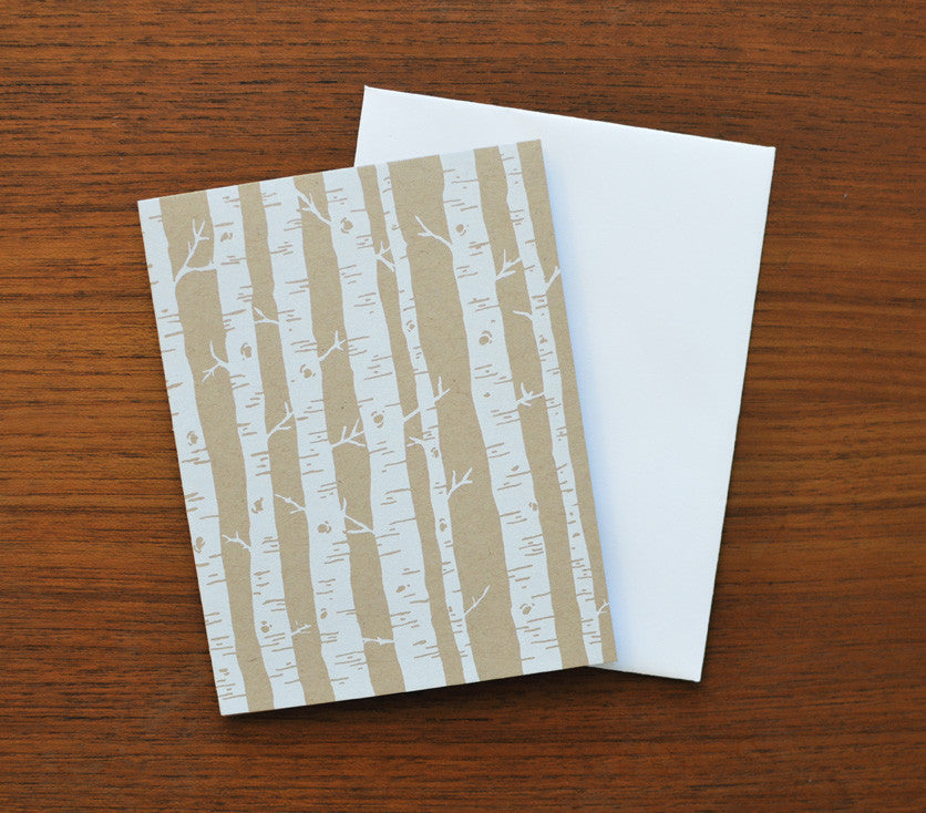 White Screen Printed Birch Tree Forest Card