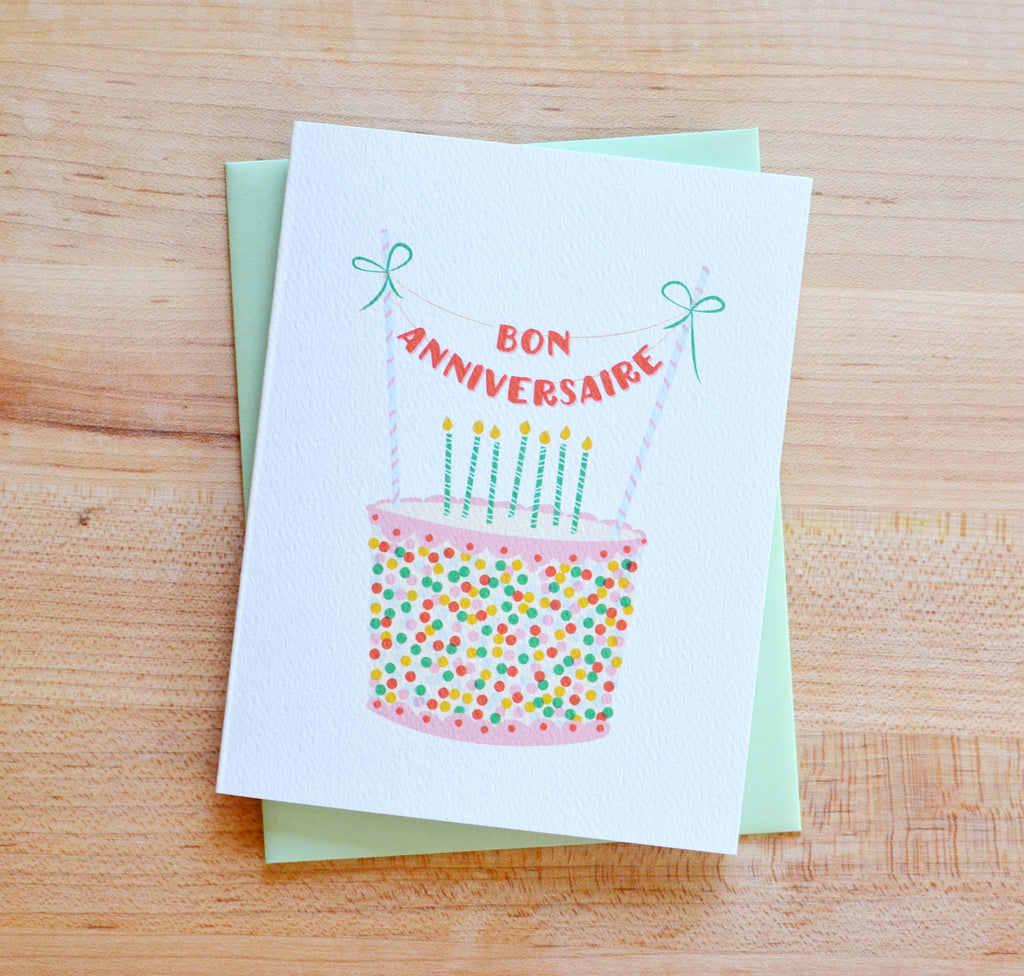 Bon Anniversaire Birthday Cake Card