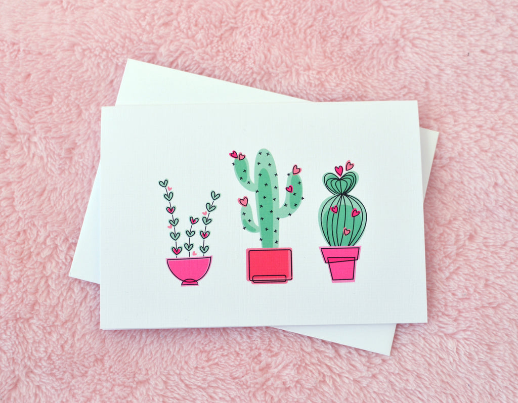 cactus desert love illustrated greeting card