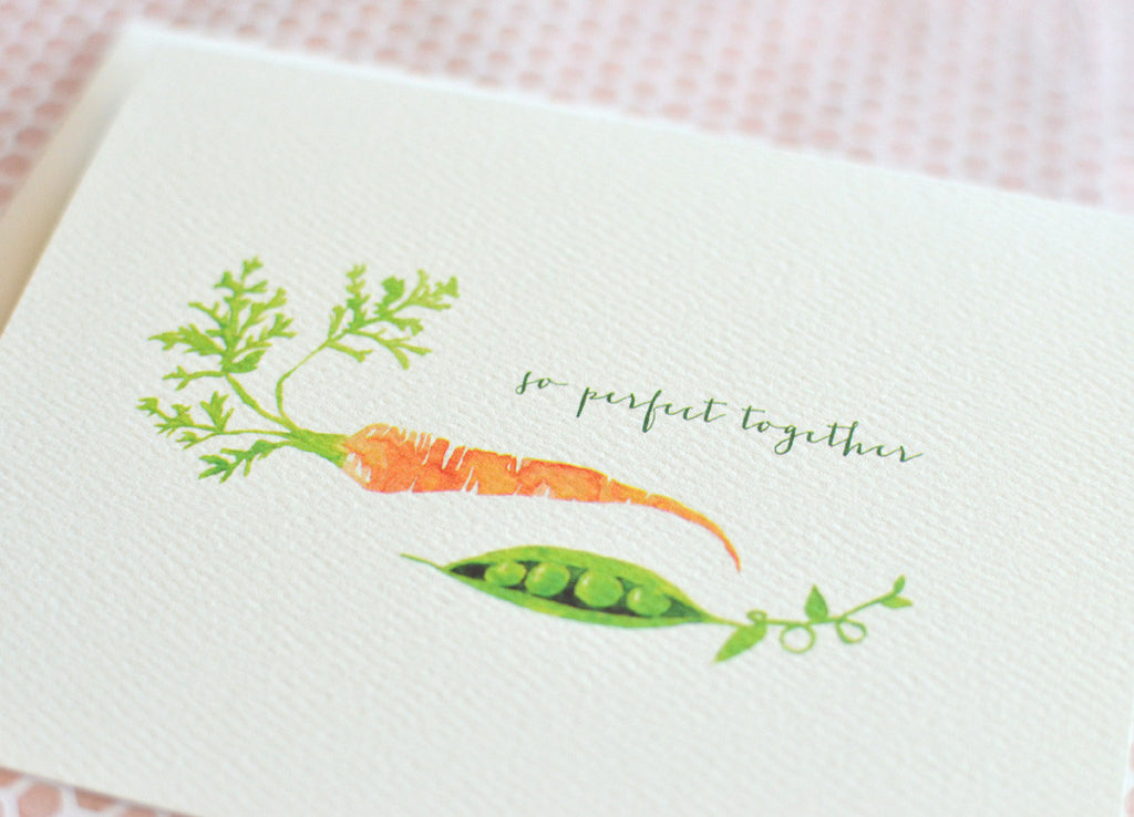 peas and carrots perfect pair wedding card