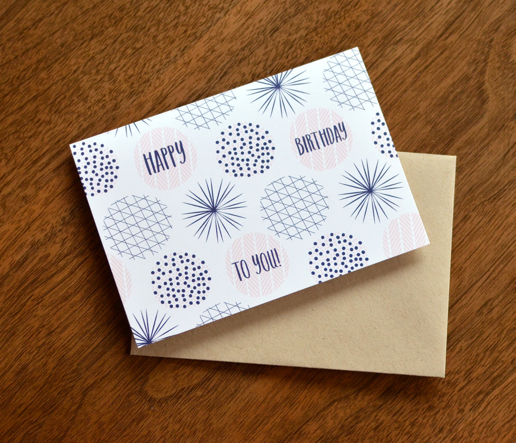 Happy Birthday Patterned Dots Starburst Card