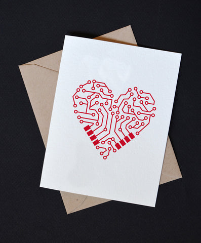Circuit Heart Nerdy Valentine's Day Card
