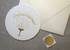 Congratulations Gold Foil Coaster Bubbly