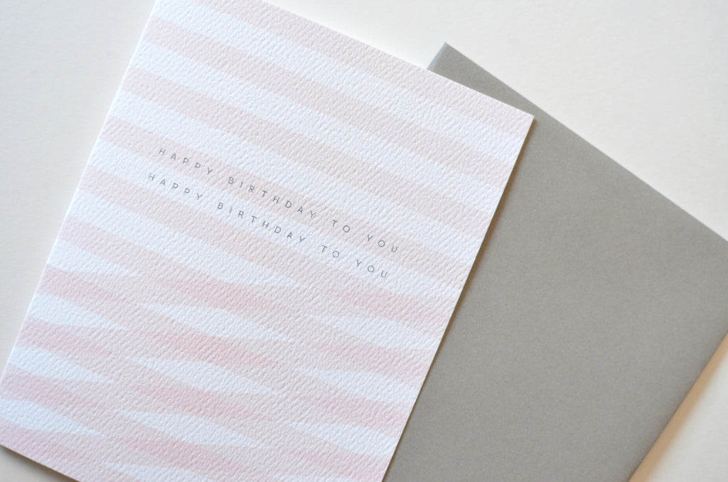 Pink Stripes Happy Birthday To You Card