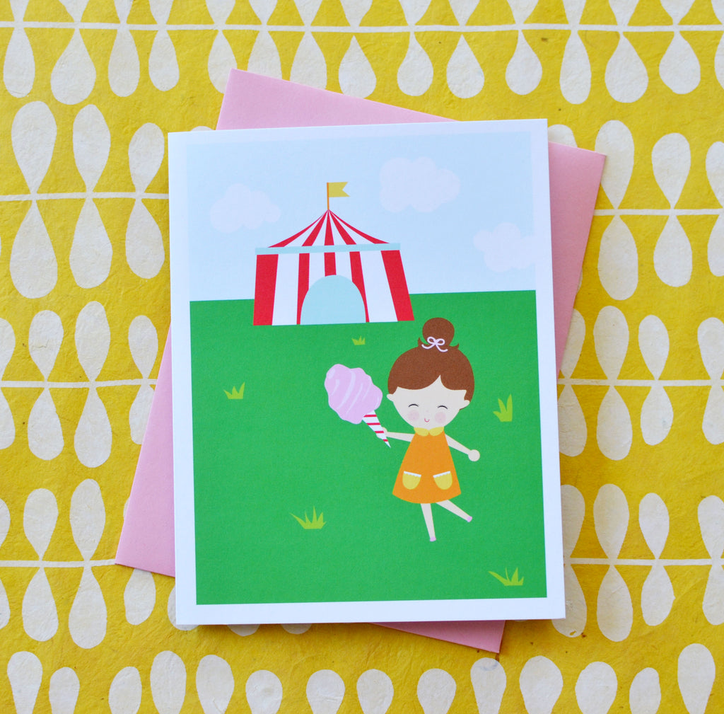 cotton candy carnival girl birthday card