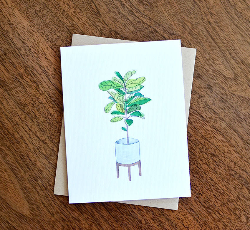 fiddle leaf fig watercolor greeting card housewarming new home