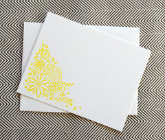yellow floral letterpress note card