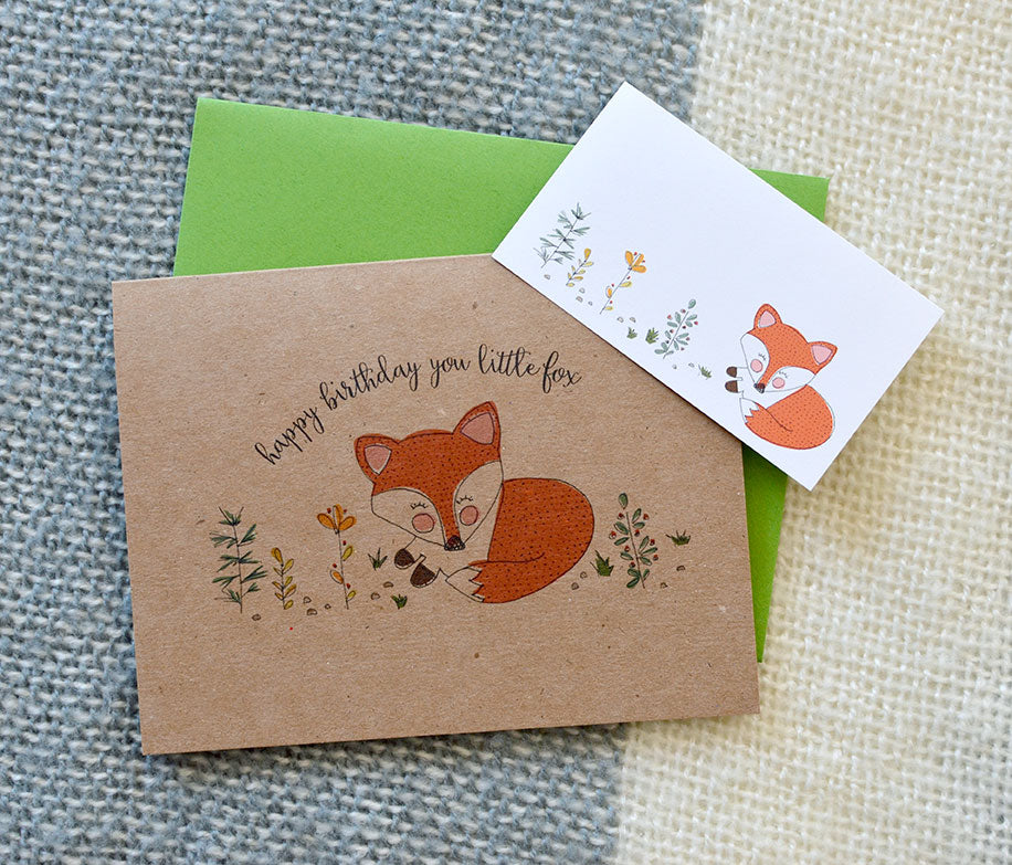 Happy Birthday Fox on Kraft Card With Address Label