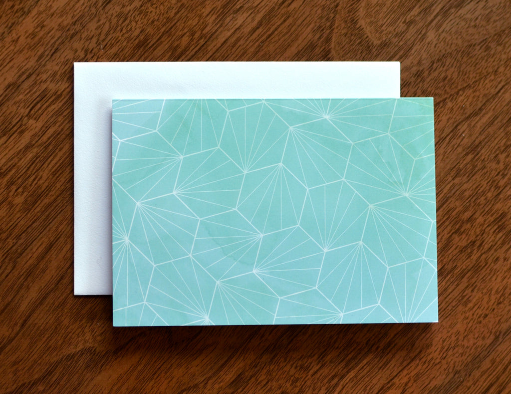 Geometric Mint Hexagon Patterned Card Thank You Note