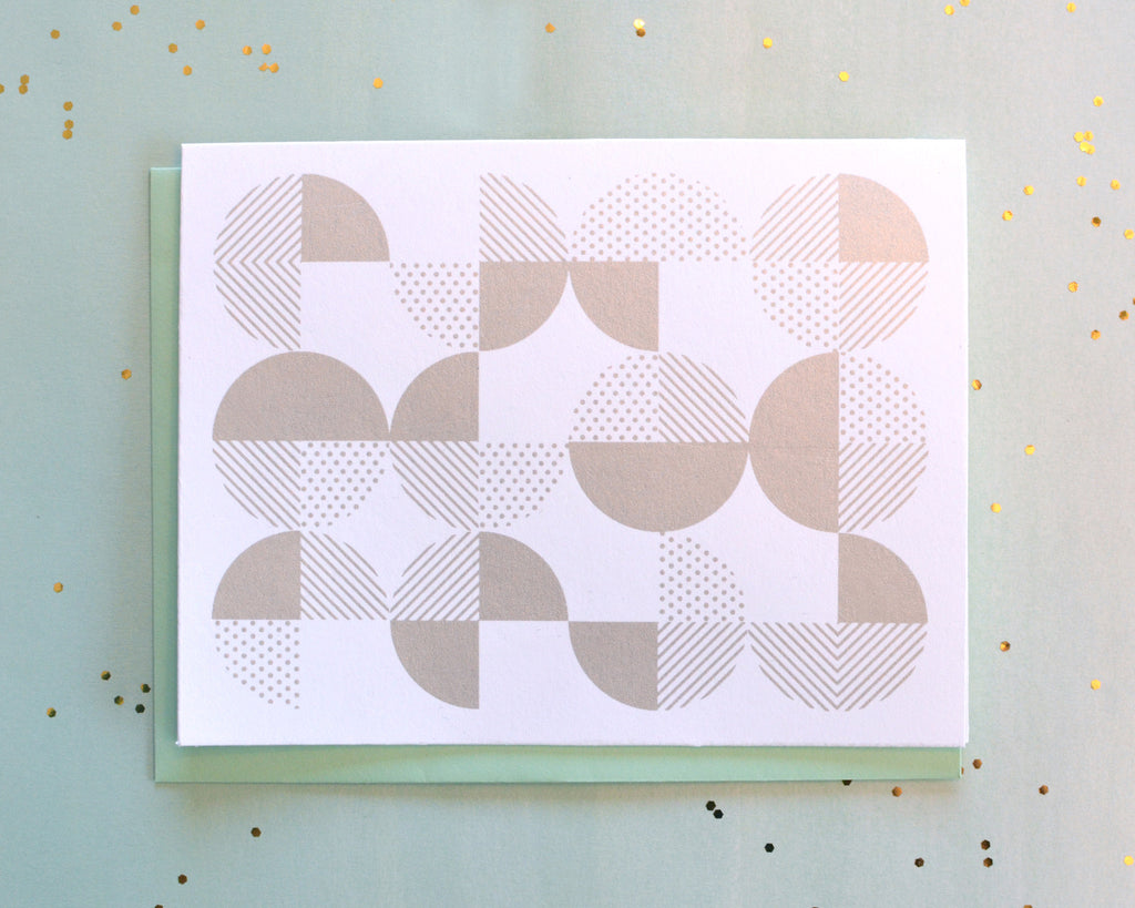 Screen Printed Silver Geo Circles Card