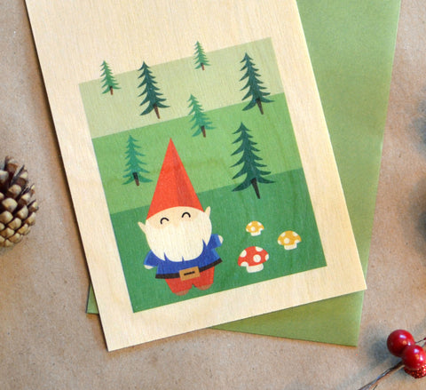 Gnome Wood Flat Holiday Card