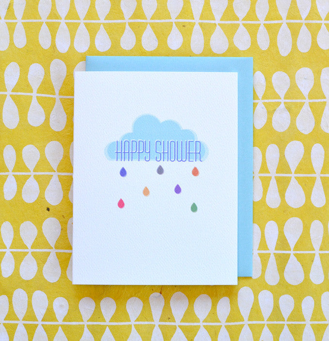 baby or bridal happy shower rain cloud card