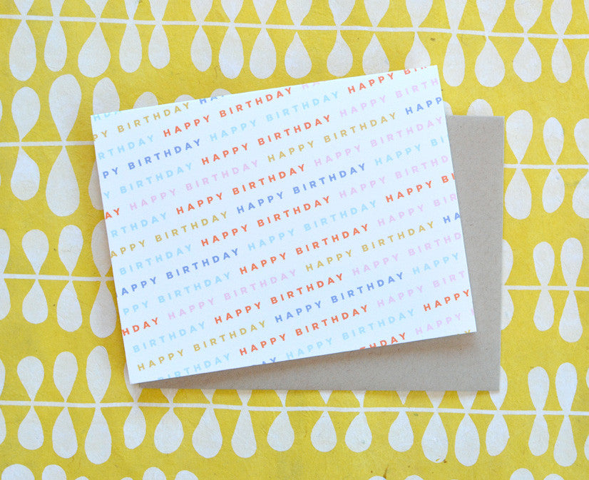 Colorful Happy Birthday Type Card