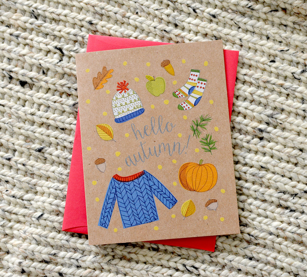 hello autumn fall card