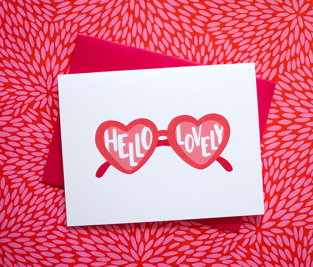 Heart Sunglasses Hello Lovely Everyday Greeting Card