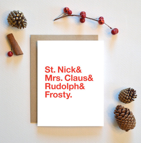 Characters Of Christmas Helvetica Type Holiday Card