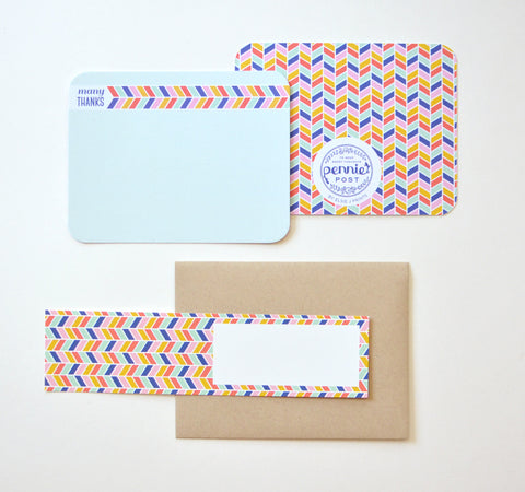 Rainbow Herringbone Thank You Note With Label