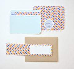 rainbow herringbone patterned many thanks notecard with matching address wrap around label