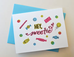 Hey Sweetie Neon Candy Greeting Card