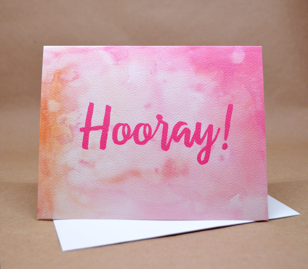Watercolor Hooray Card
