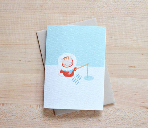 Cat Ice Fishing Card