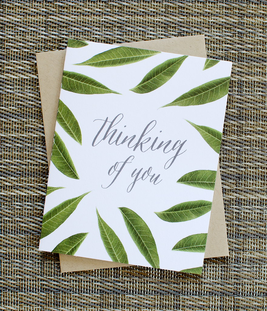 fresh leaves thinking of you greeting card sympathy